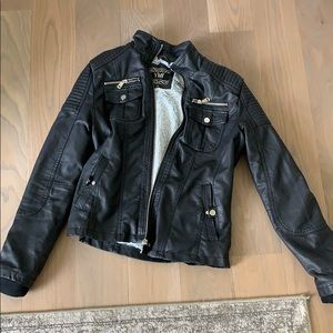 Fake leather jacket with fur